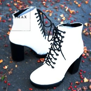 NEW🔥Round Toe Lace Up Ankle Booties Boot Lug Sole